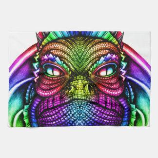 Rainbow Lizard King Wearing a Crown Trippy Towel