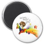 Rainbow Llama 2 Inch Round Magnet