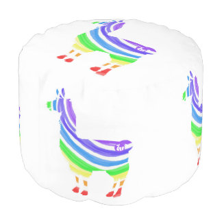 Rainbow Llama Pouf