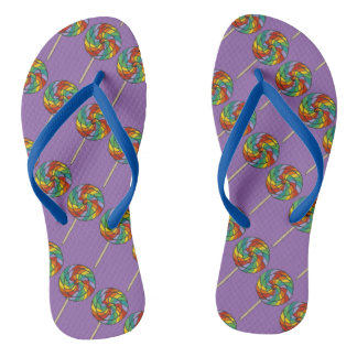 Rainbow Lollipop Lolly Candy Print Purple Pride Flip Flops