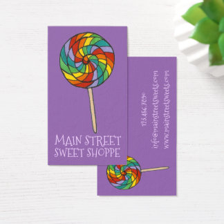Rainbow Lolly Lollipop Candy Sweet Shop Shoppe Business Card
