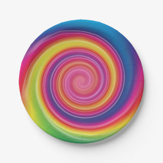 Rainbow Lollypop Colorful swirl 7 Inch Paper Plate