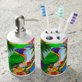 Rainbow Lorikeet Parrot Soap Dispenser And Toothbrush Holder