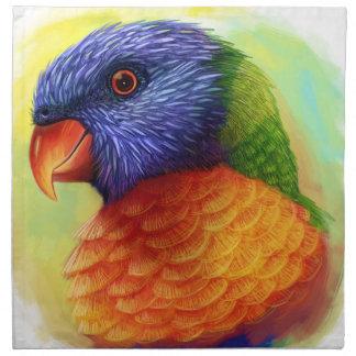 Rainbow lorikeet realistic painting napkin