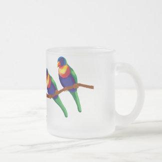 Rainbow lorikeets 10 oz frosted glass coffee mug