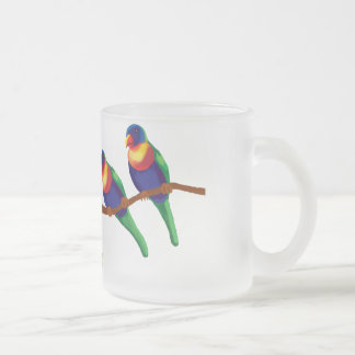 Rainbow lorikeets frosted glass mug