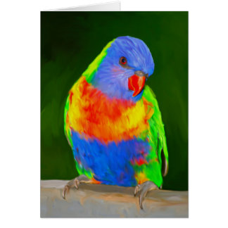 Rainbow Loriket Colourful Parrot Bird Water Colour Card
