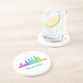 Rainbow Los Angeles skyline Drink Coaster