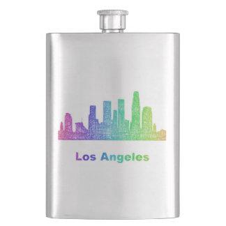 Rainbow Los Angeles skyline Flask