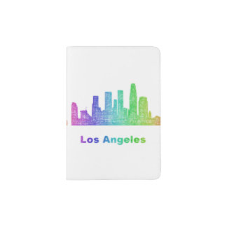Rainbow Los Angeles skyline Passport Holder