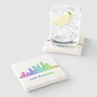 Rainbow Los Angeles skyline Stone Beverage Coaster