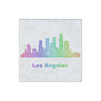 Rainbow Los Angeles skyline Stone Magnets