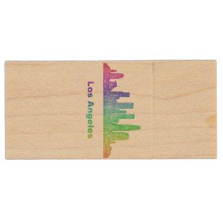 Rainbow Los Angeles skyline Wood USB 2.0 Flash Drive