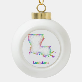 Rainbow Louisiana map Ceramic Ball Ornament