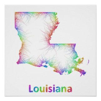 Rainbow Louisiana map Perfect Poster
