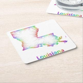 Rainbow Louisiana map Square Paper Coaster