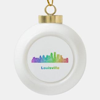 Rainbow Louisville skyline Ceramic Ball Ornament