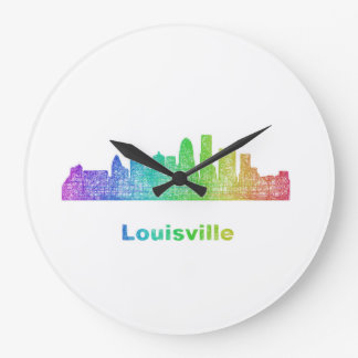 Rainbow Louisville skyline Clock