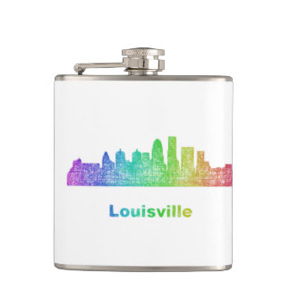 Rainbow Louisville skyline Hip Flask