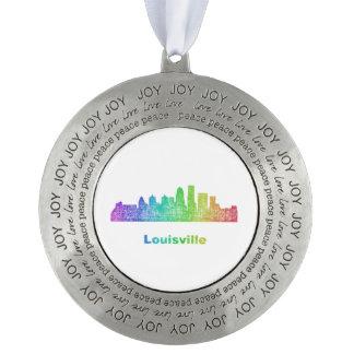 Rainbow Louisville skyline Round Pewter Ornament