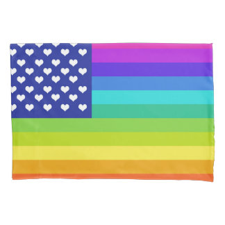 Rainbow Love American Flag Pillowcase