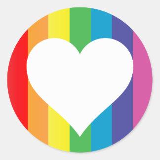 rainbow love : classic round sticker
