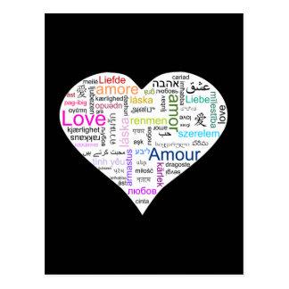 Rainbow Love Heart Typography Postcard