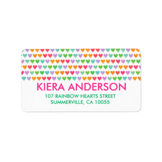 Rainbow Love Hearts Colorful Fun Pattern Chic Cute Label