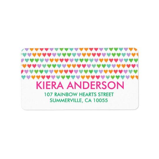 Rainbow Love Hearts Colourful Fun Pattern Chic Label