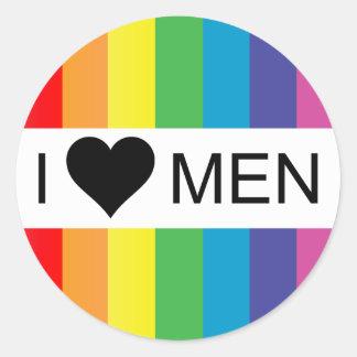 rainbow love. i heart men. round sticker
