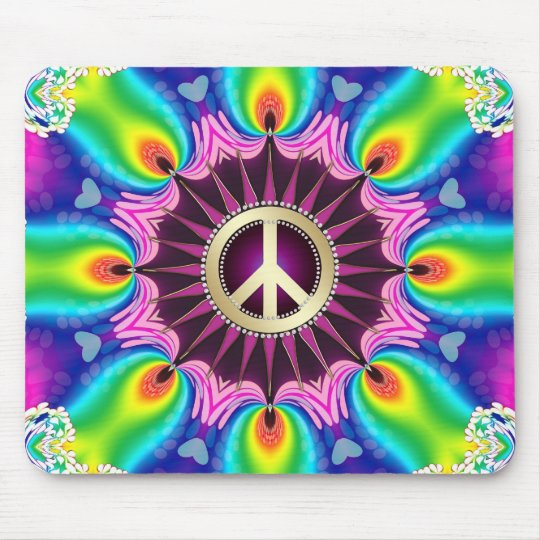 Rainbow Love Light Peace Sign Mousepad
