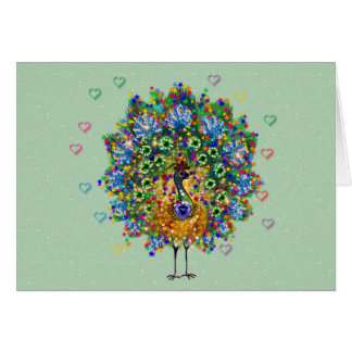 Rainbow Love Peacock Card