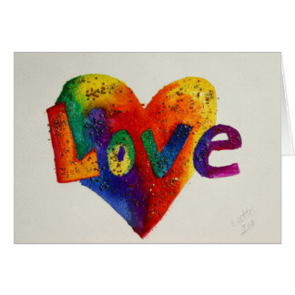 Rainbow Love Word Art Greeting Card or Note Cards