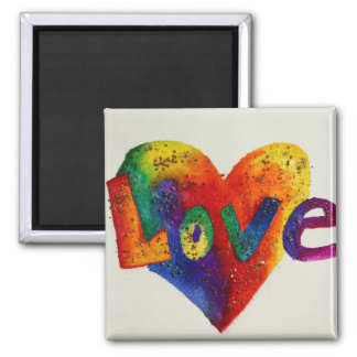 Rainbow Love Word Magnet Inspirational Painting