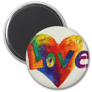 Rainbow Love Word Magnet Inspirational Painting
