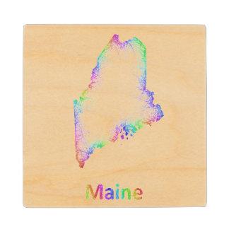 Rainbow Maine map Maple Wood Coaster