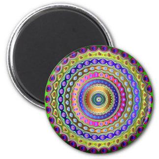 Rainbow Mandala 2 Inch Round Magnet
