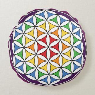 Rainbow Mandala Flower of Life Round Pillow