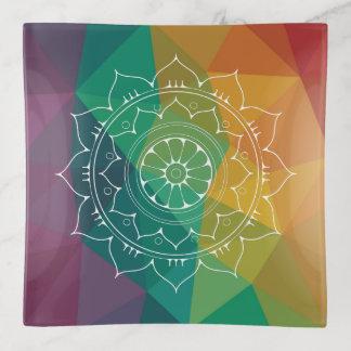 Rainbow mandala geometric ombre trendy hippie trinket trays
