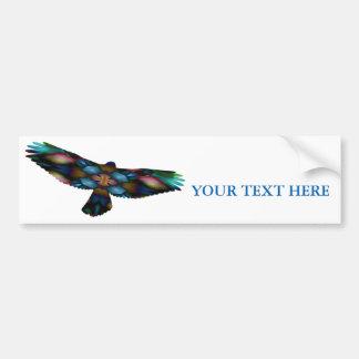 Rainbow Mandala Kaleidoscope Hawk in Flight Bumper Sticker