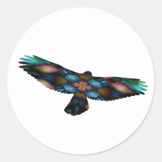 Rainbow Mandala Kaleidoscope Hawk in Flight Round Sticker