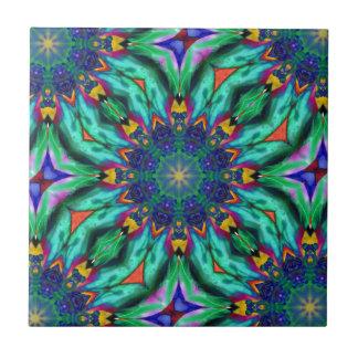 Rainbow Mandala Psychedelic Kaleidoscope Tiles