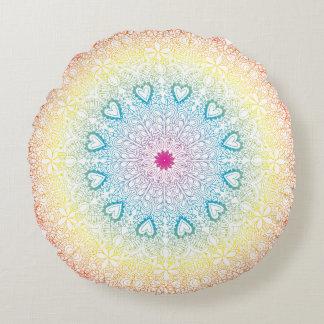 Rainbow Mandala Round Pillow