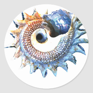 Rainbow Mandala Seashell Golden Spiral Yoga Tee Classic Round Sticker