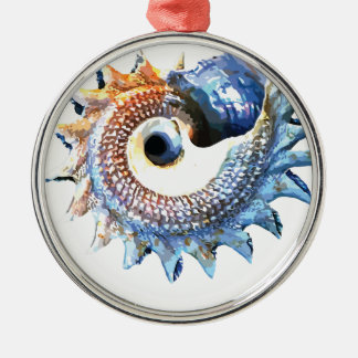 Rainbow Mandala Seashell Golden Spiral Yoga Tee Metal Ornament