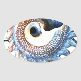 Rainbow Mandala Seashell Golden Spiral Yoga Tee Oval Sticker