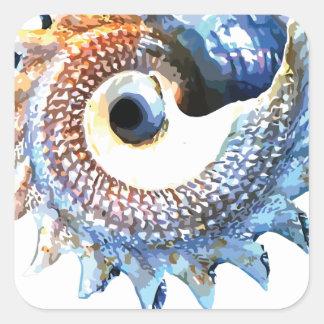 Rainbow Mandala Seashell Golden Spiral Yoga Tee Square Sticker