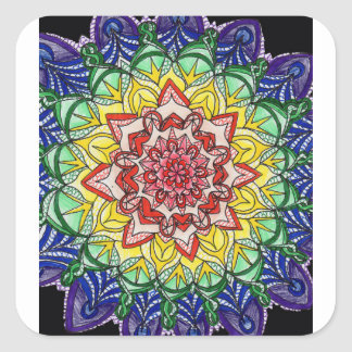 Rainbow Mandala Square Sticker