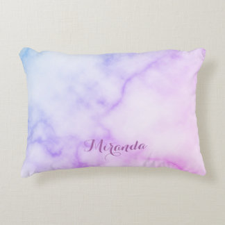 Rainbow Marble Pattern with Personalized Name Accent Pillow