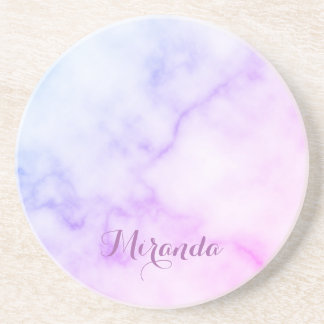 Rainbow Marble Pattern with Personalized Name Coaster